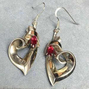 Vintage Curled Sterling Silver & Garnet Earring